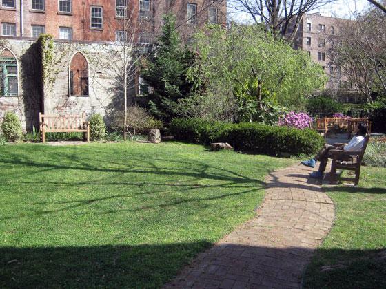 The serene garden at St. Luke's.