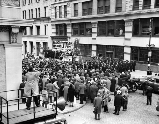 A crowd gathers to remember the horrible Triangle Shirtwaist Fire.
