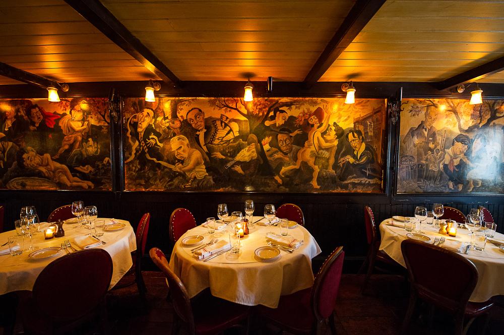 The inn's mural, by Edward Sorel.
